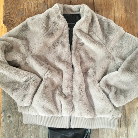 Banana Republic faux fur bomber jacket